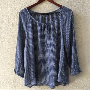 Fred David Blue Polka Dot Blouse Size XL